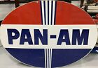 Rare Pan Am Porcelain Gas Oil Sign Like Standard American Amoco Pole Sign Pan-am