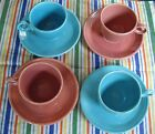Vintage Fiesta ROSE & TURQUOISE TEA CUPS +  SAUCERS  ~ Set of 4 ~