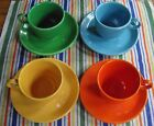 Vintage Fiesta Teacups & Saucers ~ Red, Yellow, Medium Green &  Turquoise  ~