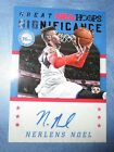 NERLENS NOEL 15-16 NBA HOOPS GREAT SIGNIFICANCE AUTO CARD + FREEBIES C NOTES