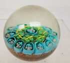 Antique Venini Murano Style Glass Paperweight Floral Decoration