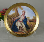 Decorative 105 Porcelain Plates in heavy Gold Trim  Scenery with Stand