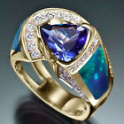 Gorgeous 18k Yellow Gold Plated Rings for Women Jewelry Blue Sapphire Size 6 10