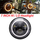 7 inch Motorcycle LED Headlight w/Amber Halo Ring DRL For Cafe Racer Custom Bike