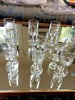 Lot Of 9 Vtge MidCentury Modern Cordial Clear Glasses with frosted etched leaf