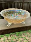 Vintage Imperial Glass Open Rose Lustre Carnival Glass Large Footed Bowl