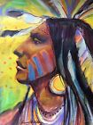 Native American Indian ORIGINAL WESTERN PAINTING Blackfoot BOISE ART signature