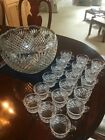 Vintage Smith Handcrafted Glass Punch Bowl Extra Large 13
