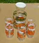 Vintage Orange Juice Carafe and 5 Glasses by Anchor Hocking