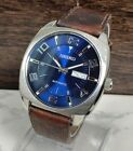 Seiko Recraft Automatic Men's Watch Silver Blue Brown Leather Day Date SNKN37 WR