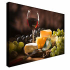 Glass Red Wine Cheese Canvas Wall Art Picture Print
