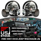 For Jeep Wrangler JK 07 17 Halo DRL LED Headlight+Fog Turn Light Combo 6000LM