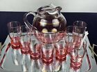 Vintage Cranberry Gold Glass Pitcher 8 Glasses Mid Century Cocktail Bar Drinking