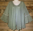 Womens New Directions Olive Green White Striped Blouse Size PXL