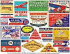 25 AIRLINE LUGGAGE STICKERS 1 Sheet Travel Label REPRODUCTIONS Airplane Art