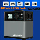 Suaoki Portable 400wh Solar Generator Power Supply Energy Storage Battery 4USB