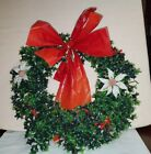 Christmas Wreath Vintage Greenery Holly poinsettia 18 1218