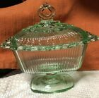 Vintage Indiana Pale Green Glass Pedestal Lace Edge Covered Candy Dish