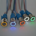 Push Button Switch Ring LED Light Momentary Latching Waterproof 16mm 5 12 24 220