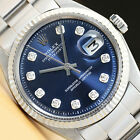 MENS ROLEX DATEJUST BLUE DIAMOND 18K WHITE GOLD/SS STEEL WATCH w/OYSTER BAND