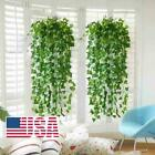 Artificial Hanging Plant Flowers Greenery Vine Leaf Garland Fake Faux Decor 12pk