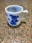 RARE VINTAGE HAZEL ATLAS CHILDREN'S BLUE DOG,BUNNY,DUCK MILK GLASS MUG