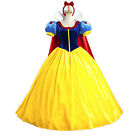 Halloween Cosplay Fancy Dress Princess Snow White Costume for Adult w Petticoat