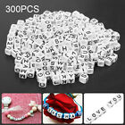 US 300x Acrylic Beads Alphabet Letter Cube Pony 6mm Jewelry DIY Material Crafts