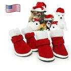 Pack of 4 Santa Pet Dog Shoes Small Puppy Cats Christmas Shoes Winter Warm Boots
