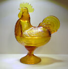 VINTAGE AMBER GLASS ROOSTER FIGURINE COVERED CANDY DISH