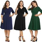 Women Plus Size Vintage Style Wrap Front V Neck Half Sleeve Ruched Swing W2YN
