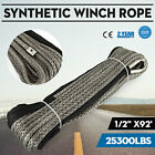 92ft*1/2 Synthetic Dyneema Rope Winch cable Winch Rope Marine Helicopter