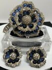 Vintage BOUCHER BLUE GLASS  RHINESTONE FLOWER BROOCH  EARRINGS SET Exquisite