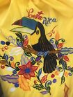 Vintage Costa Rica Embroidered Womens Kaftan Dress Toucan Floral Yellow One Size