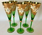 Vintage Set 5 Bohemian Tall Glasses Green Heavy Gold Hand Painted Enamel Flowers