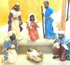 RARE VINTAGE 6 Pc LARGE AFRICAN AMERICAN NATIVITY CHRISTMAS 10 TO 24 FIGURES