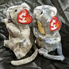Cheddar BLUE & TAN Mouse Beanie Babies Baby SET of (2) 7-10 Gen. w/ Mint Tags