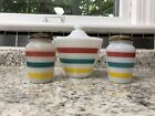 Fire King Colonial Stripe Grease Jar And Salt Pepper Shaker Range Set