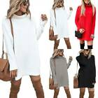 Women Plain Knitted Mini Dress Causal Evening Party Sweater Jumper Top Pullover