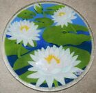 NEW Peggy Karr Glass Plate 11 1 4 White Flowers Floral Lily Pads Green