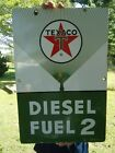 OLD LARGE 1960 TEXACO DIESEL FUEL 2 PORCELAIN ENAMEL SIGN