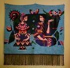 Wall Tapestry Native Indian Fringe Couple Love Scene 34x34 Hand Woven Turquoise