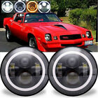 For Chevrolet Camaro LED Headlight 7 Inch Round Projector Amber Halo DRL Light