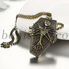Men's Unique Bronze Skull Pattern Quartz Pocket Watch Necklace Halloween Gift