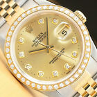 ROLEX MENS DATEJUST 16233 18K YELLOW GOLD STAINLESS STEEL DIAMOND WATCH