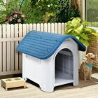Indoor Outdoor Plastic Dog House All Weather Waterproof Puppy Pet Shelter Blue