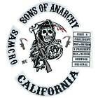 SONS Of Anarchy CALIFORNIA Back Embroidered Biker Rider Patch BACKING
