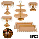 6Pcs Cake Holder Cupcake Stand w Crystals Celebration Plates Holder Metal Tower