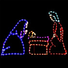 3 Piece Nativity Small Multicolor Lights Lighted Christmas Yard Display