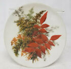 Antique White Milk Glass Oil Painted Decorative Plate Fall Autumn Foliage SIgned